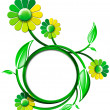 Green Banner with Leaves and Flowers — Foto de Stock
