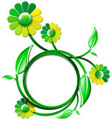 Green Banner with Leaves and Flowers — Stock Photo