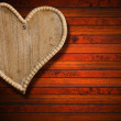Wooden Heart on Brown Wood Background — Stok fotoğraf
