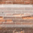 Glass Plate on Brick Wall Background — Stock Photo