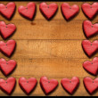 Red Hearts Frame on Wooden Boards — Stok fotoğraf