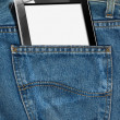 Tablet Computer in a Pocket of Blue Jeans — Stock Photo