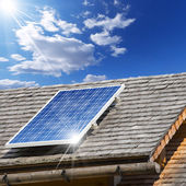 Solar Panel on a Old Roof — Foto Stock