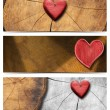 Banners with Wooden Hearts — Foto de Stock