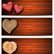 Banners with Wooden Hearts — Lizenzfreies Foto