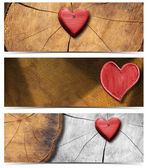 Banners with Wooden Hearts — Stock Photo