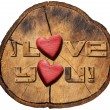 I Love You! on Section of Tree Trunk — Stock Photo