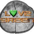 Love Green on Section of Tree Trunk — Foto de Stock