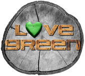 Love Green on Section of Tree Trunk — Stock Photo