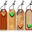 Set of Wooden Tags with Hearts — Stock Photo