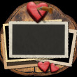 Stock Photo: Romantic Photo Frames on Section of Tree Trunk