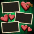 Romantic Photo Frames on Wood Green Wall — Stock Photo