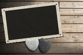 Photo Frame on Wooden Boardwalk with Sand — ストック写真