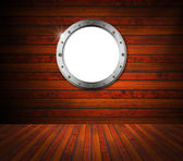 Interior Wooden Room with Metal Porthole — Foto Stock
