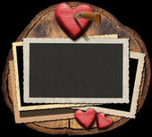 Romantic Photo Frames on Section of Tree Trunk — Stock Photo