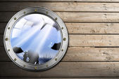 Metal Porthole with Sea Abyss Landscape — Stock Photo