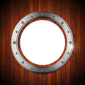 Wooden and Metallic Porthole — Foto Stock
