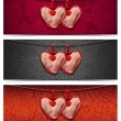 Banners with Cloth Hearts - 3 Items — Stock Photo