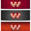 Banners with Cloth Hearts - 3 Items — Stok fotoğraf
