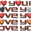 I Love You - Hearts and Metal Letters — Stock Photo #34176273