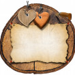 Brown Wooden Hearts on Trunk Section — Stock Photo
