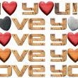 I Love You - Hearts and Wooden Letters — Stock Photo