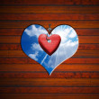 Heart Shape cut on Brown Wooden Wall — Stock Photo