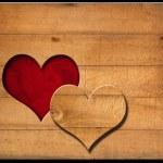 Heart Shape cut on Old Wooden Boards — Stock Photo