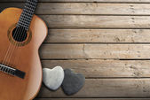 Acoustic Guitar on Wooden Boardwalk — Stock Photo