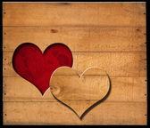 Heart Shape cut on Old Wooden Boards — 图库照片