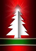红色背景的白色圣诞树 — 图库照片
