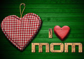 I Love Mom with Cloth Heart — Stockfoto