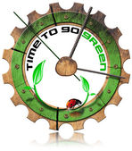 Time to Go Green - Wooden Gear — Stock Photo