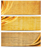 Three Banners with Old Yellowed Paper — Stock Photo