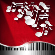 Music Piano and Note Background - Red Velvet — ストック写真
