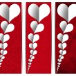 White Paper Hearts - Three Banners — Stock Photo