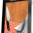 Tablet computer with Cutting Board — Stock Photo