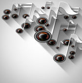 Music Note and Woofer Background — Stock Photo