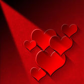 Red Hearts on Red Velvet Wall — Stock Photo