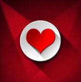 Red Heart on White Circle - Red Velvet — Stock Photo