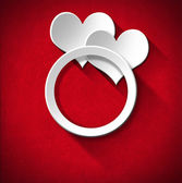 Wedding Ring and Two Hearts — Stock Photo