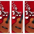 Guitar and Musical Notes - Three Banners — Foto Stock