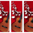 Guitar and Musical Notes - Three Banners — Stockfoto