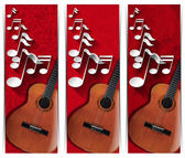 Guitar and Musical Notes - Three Banners — Stock Photo