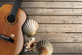 Acoustic Guitar on Wooden Boardwalk — Stock Photo