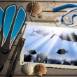 Spearfishing Photo Frame with Sea Abyss — Stock Photo