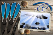 Spearfishing Photo Frame with Sea Abyss — Стоковое фото