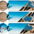 Stock Photo: Spearfishing Three Banners - N2