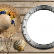 Metal Porthole on Wooden Boardwalk with Sand — Stock Photo #35775167