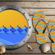 Metal Porthole on Wooden Boardwalk with Sand — Lizenzfreies Foto